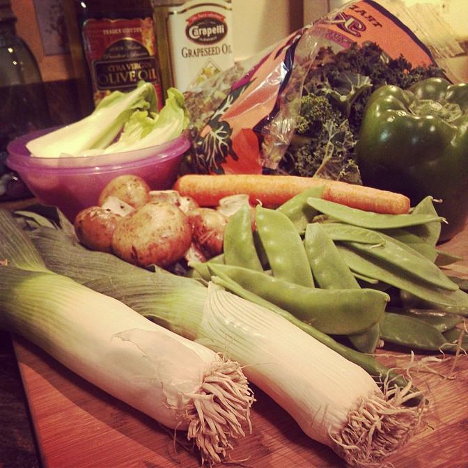 vegetable stir fry in the wok