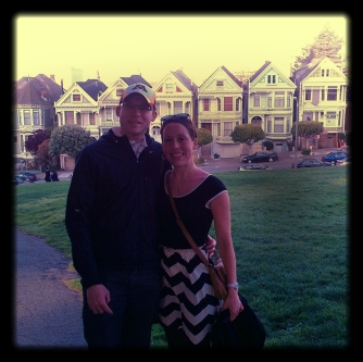 standing in front of the famous Painted Ladies