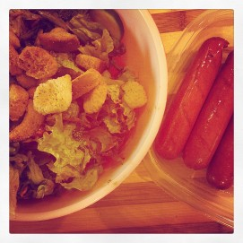 fresh salad and local hot dogs!