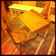 vintage desk I found in some furniture store basement. ME? Snooping?!