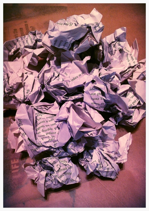 recycled book wall art - crumpled pages