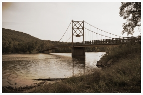 """Beaver Bride, also known as the """"Little Golden Gate Bridge"""" of Arkansas - it actually sways when you drive your car across! eek!"""