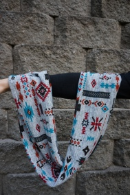 Red and Turquoise Infinity Scarf {Aztec Cowl}