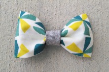 ORGANIC and RECYCLED yellow and blue pinwheel boy bow tie