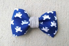 ORGANIC and RECYCLED blue frog boy bow tie