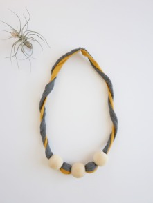 dandelion twist bamboo fabric natural wood chew bead teething necklace by Running Wild Designs
