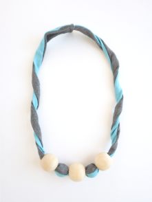 blue twist bamboo fabric natural wood chew bead teething necklace by Running Wild Designs