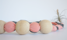 pink twist bamboo fabric natural wood chew bead teething necklace by Running Wild Designs