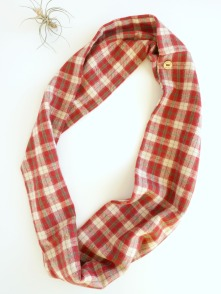 red flannel infinity scarf by Running Wild Designs