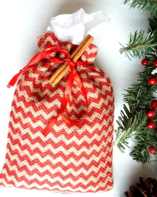 Red Chevron Burlap Bag Holiday Gift Wrap Option from the Running Wild Designs Shop