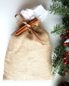 Natural Burlap Bag Holiday Gift Wrap Option from the Running Wild Designs Shop
