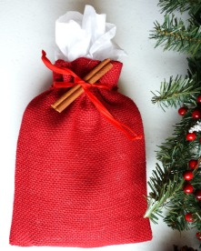 Red Burlap Bag Holiday Gift Wrap Option from the Running Wild Designs Shop