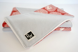 organic red burp towel by Running Wild Designs