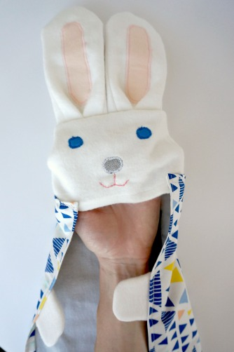 organic blue bunnie blankie by Running Wild Designs