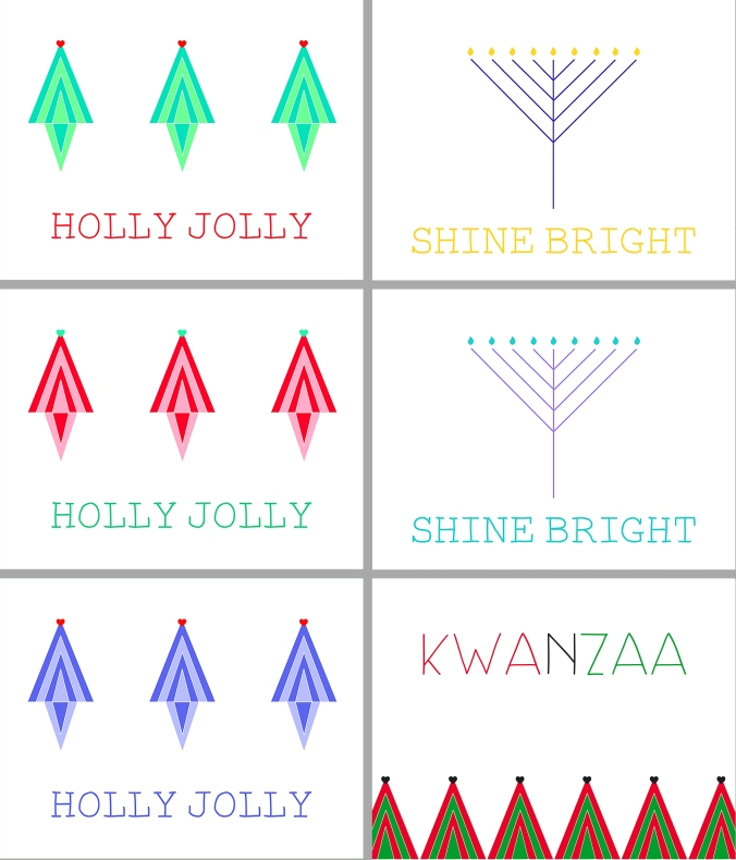 Christmas, Hanukkah, and Kwanzaa Holiday Cards!