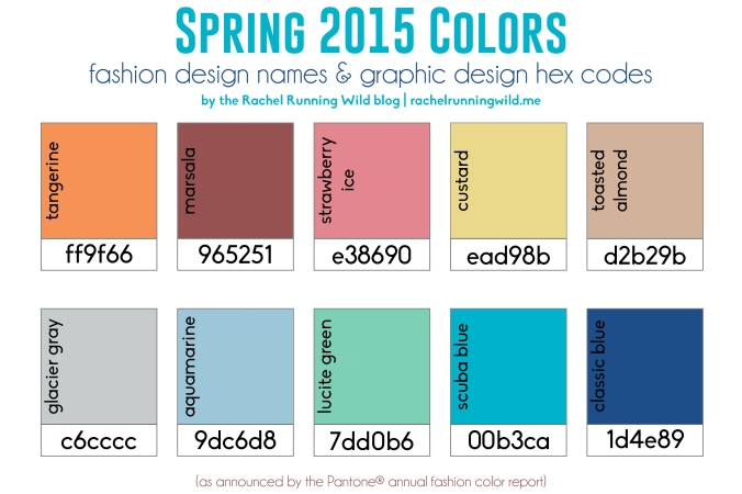 2015 Color Chart by the Rachel Running Wild blog | Spring 2015 | fashion design names & graphic design hex codes
