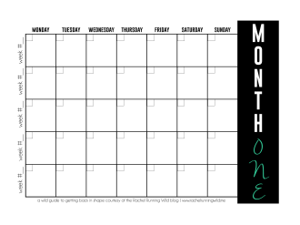 Fitness Series Calendar | by the Rachel Running Wild blog | rachelrunningwild.me