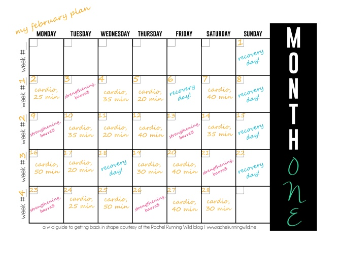 Fitness Series Calendar (my sample) | by the Rachel Running Wild blog | rachelrunningwild.me